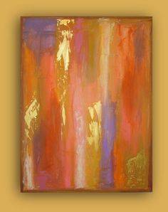 "ORIGINAL PAINTING Coral and gold Original Acrylic Abstract Fine Art on Gallery Canvas 30x40x1.5"" by Ora Birenbaum"