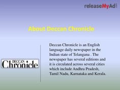 Now, book Obituary Advertisements at lowest rates. Avail special discount advertisement rates for Deccan Chronicle Obituary via releaseMyAd online booking portal.