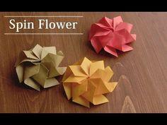 折り紙1枚で作る、お花の折り方。スピンフラワー 【Origami Flower】 - YouTube