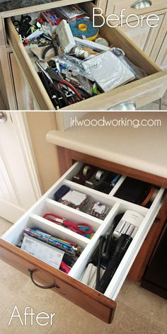 Tutorial on doing a built-in, custom, junk drawer organizer for $5 and less than 15 minutes!