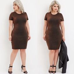 Plus Size Metallic Bodycon Dress 1X NWT Forever 21 dress! Brand new with tags, never worn. Size 1X. From the Forever 21+ line. Metallic knit. Short sleeves. Unlined. Copper and black colors. Very pretty  NWT items will have tag partially cut also available on eBay & Mercari  Forever 21 Dresses