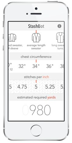 StashBot — Knitbot, by Hannah Fettig APP for calculating the amount of yarn your need. Pretty cool.
