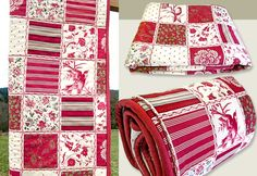 """Cheater"" Quilt with Piping Detail...Uses a patchwork print instead of piecing..."