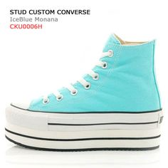 Studded Custom Converse Platform - ICE BLUE MONANA. $155.00, via Etsy.