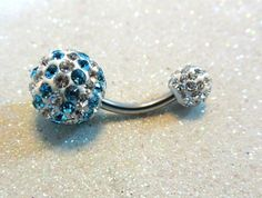 Belly button ring, belly piercing ring w blue and clear crystals 14ga | YOUniqueDZigns - Jewelry on ArtFire