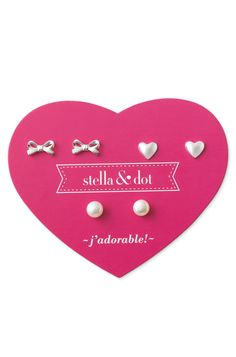 Stella & Dot Mini Pearl Trio Earring Set