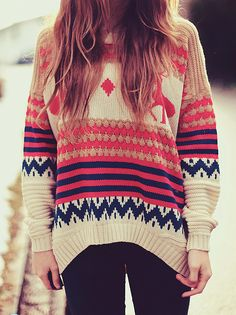 colourful nordic loose sweater #outfits