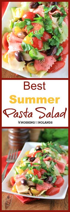 Best Summer Pasta Salad by Noshing With The Nolands, is full of color and flavor with multi colored tomatoes and pasta. Fresh garden herbs, garlic and olives boost the flavor profile to another level.