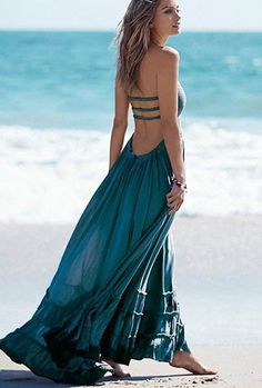 Beach Dress Sexy Boho Backless Maxi Bohemian Dress