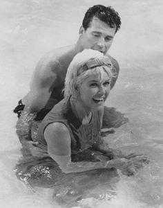 """Doris Day and James Garner on the set of """"The Thrill of It All."""""""