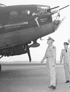 "Gen. Hap Arnold, commander of the U.S. Army Air Forces, examining the ""Memphis Belle"" after it returned to the US.Memphis Belle was one of the first B-17 USAAC heavy bombers to complete 25 combat missions with her crew intact by May 1943.The aircraft and crew then returned to the United States to sell war bonds. The aircraft is undergoing extensive restoration at the National Museum of the United States Air Force at Wright-Patterson AFB in Dayton, Ohio. BFD"