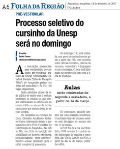 Processo seletivo do cursinho da Unesp será no domingo. Fonte: Folha da Região