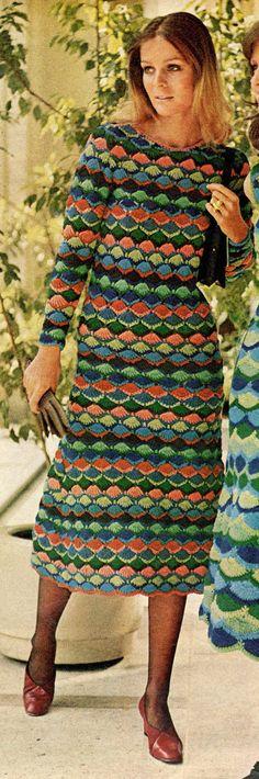 vintage crochet pattern ladies cocktail dress fan stitch lace long sleeves victoria secret style short printable pdf download skirt 1960s