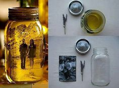 Vintage looking photo in Mason jar- just add vegetable oil, dried flowers behind photo (photo will look transparent) and essential oil if desired. Clever!