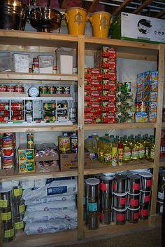 pantry shelves in storm shelter