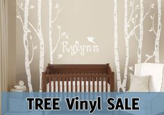 6 Trees Wall Decal Woodland Nursery Personalized with Baby's Name - American…