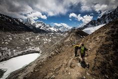 On the huge glacial moraine near Gokyo. Khumbu Valley, Himalayas Nepal