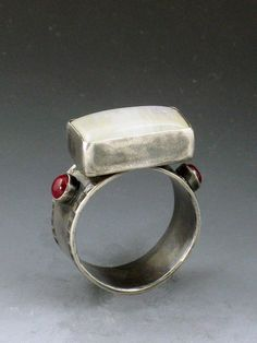 Ring | Michele Grady. Sterling Silver, Moonstone and Pink Sapphire