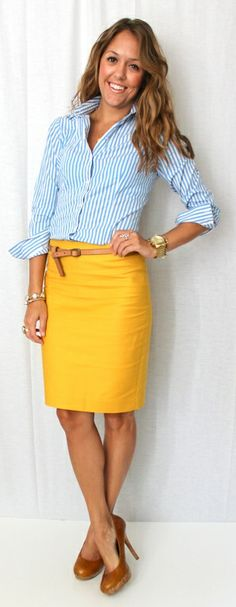 Not a fan of the bright yellow skirt but love the outfit! J's Everyday Fashion: This website is all about empowering women – to give them fashion without the frills, that hopefully can be used and applied in a very practical way. Looks Style, My Style, Curvy Style, Style Work, Js Everyday Fashion, Everyday Outfits, Preppy Work Outfit, Pants Outfit, Fashion Clothes