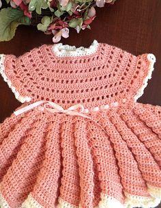 Peach baby dress, ruffled baby dress, crocheted dress, lacy dress by OnceUponARoll, $60.00 USD,#zibbet