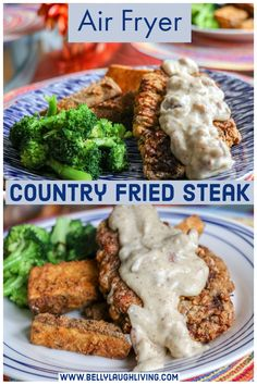air fryer recipes Air Fryer Country Fried Steak is a great way to have this traditional dish while saving a few calories and not losing any of that classic flavor. Air Fryer Dinner Recipes, Air Fryer Oven Recipes, Recipes Dinner, Air Fryer Recipes Potatoes, Dinner Ideas, Meal Ideas, Breakfast Recipes, Fried Cube Steaks, Cube Steak Recipes