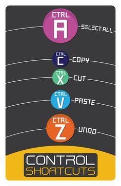 Computer Control Shortcuts - Control A - Select All - Control C - Copy - Control X - Cut - Control V - Paste - Control Z - Undo. For PC.