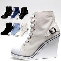 Womens Cute Canvas Lace Up Zip Wedge Heel 4 Ladies Sneakers Look Ankle Boots | eBay