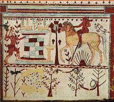 Etruscan mural achilles Troilus - Tomb of the Bulls (Tomba dei Tori),  Necropolis of Monterozzi, Tarquinia, c. 540-520 BC