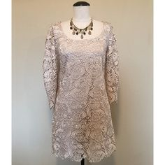 WHBM Champagne Lace 3/4 Sleeve Dress sz 2 NWT White House Black Market (Champagne) Lace 3/4 Sleeve Dress sz 2 NWT ✨ It zips in the back, the zipper reaches more than 1/2 way down the dress. It's a short cocktail dress. The necklace is NOT included, sold separately.               NO TRADES NO PAYPAL White House Black Market Dresses