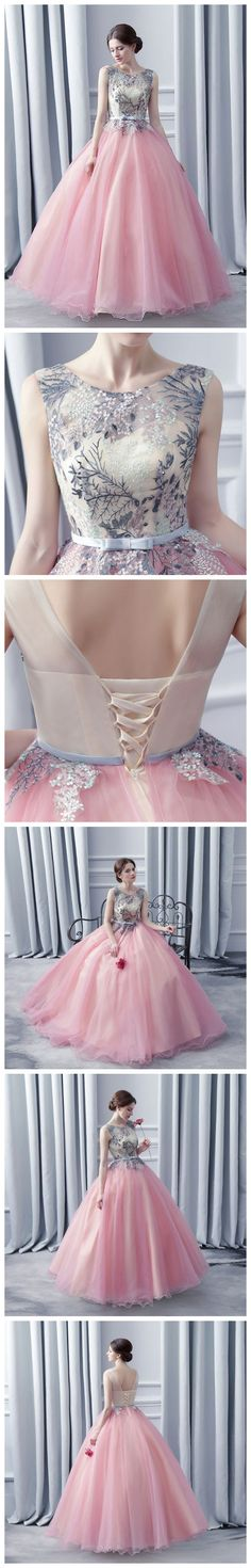 CHIC A-LINE BALL GOWNS SCOOP PINK TULLE APPLIQUE SLEEVELESS PROM DRESS EVENING GOWNS AM226