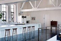Interior design With black floor and white beams