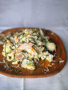 Smoked trout, horseradish & new potato salad Smoked Trout Salad, Smoked Fish, Potato Recipes, Fish Recipes, Seafood Recipes, Prawn Recipes, Yummy Recipes, Dinner Recipes, Perfect Potato Salad Recipe