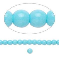 Bead, Preciosa® Czech pressed glass druk, turquoise blue opaque, 4mm round. Sold per 16-inch strand. - Fire Mountain Gems and Beads