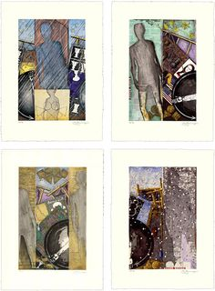 """The Seasons, Jasper Johns, 1987, 26 1/4""""x19 1/4"""" each, etchings with aquatint.  The works use many motifs used in Johns's work - e.g. the arm in a partial circle.  A scaled down version of the artist's own shadow refers to Johns's meditation on his own path."""