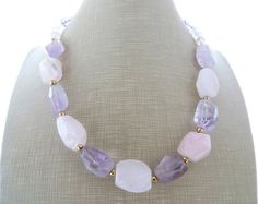 Pink quartz necklace purple amethyst necklace chunky