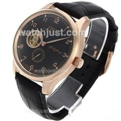 IWC Portuguese F.A Jones Tourbillon Automatic Rose Gold Case with Black Dial-Leather Strap   Sale Up To 70% Off