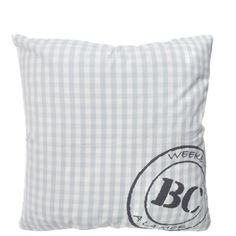 Cushion 60x60 Light Blue Check W. Stamp