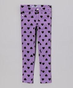 Loving this Lavender Heart Skinny Jeans - Toddler & Girls on #zulily! #zulilyfinds
