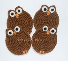 Set of 6 Coffee Owls Crochet Coasters - Finished Handmade Beverage Kitchen Home Decor Housewares Coasters or Potholders. $18.50, via Etsy.