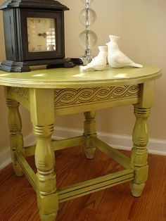 """#spraypaint and #glaze of table - easy peasy! Would be perfect for that pesky secretary desk that taunts me from the garage.  """"Fix me Jacqueline, fiiiiiix meeeeee"""""""