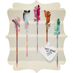 Iveta Abolina Feathered Arrows Quatrefoil Magnet Board #feather #arrows #tribal #notes #dorm