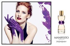 Jessica Chastain for Yves Saint Laurent's new Manifesto fragrance ad campaign.