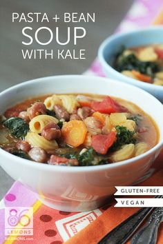 Pasta & Bean Soup with Kale (vegan, gluten-free)  86lemons.com