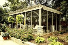 Pergola style freestanding screened porch