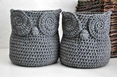 2 Grey Owl Baskets Crocheted Bin Yarn Holder Woodland Nursery Decor Home Organizer Custom Colors