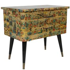 1950s Two-Drawer Chest in Decoupaged German Walt Disney Cartoon Paper | See more antique and modern Commodes and Chests of Drawers at https://www.1stdibs.com/furniture/storage-case-pieces/commodes-chests-of-drawers