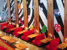 Mellow Mushroom, Charleston   walnut skinned walls + table tops by skylar morgan furniture + design (SMFD)