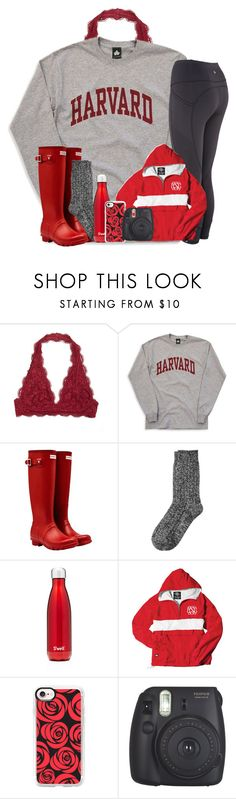 """""""Contest: Colors of the Rainbow: Red"""" by katie-1111 ❤ liked on Polyvore featuring Hunter, Cuddl Duds, S'well, Casetify and Fujifilm"""