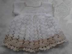Free Crochet Pattern for Micro Preemie Baby or Berenguer La Newborn Doll. Dress is made from size 10 cotton crochet thread.