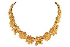 Signed Monet Floral Collar by Ruby + George on @One Kings Lane #vintageandmarketfinds #vintage #vintagejewelry #monet #gold #necklace #collar #floral